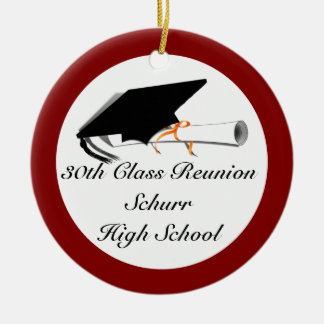 Graduation Cap With Diploma - High School Reunion Ceramic Ornament