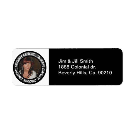 Graduation Chalkboard Circle Add Your Photo Return Address Label