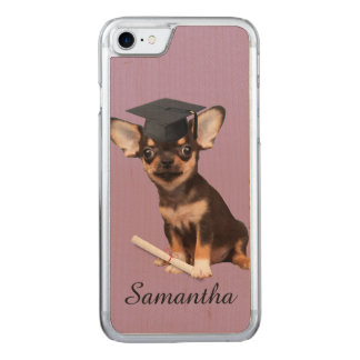 Graduation Chihuahua dog Carved iPhone 7 Case