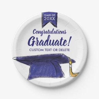 Graduation Class 2018 Congrats Blue Grad Cap Paper Plate