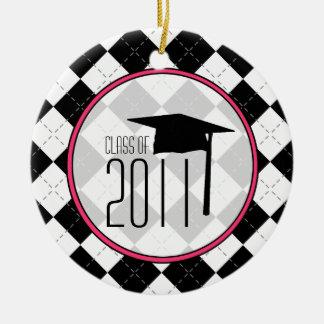 Graduation Class of 2011 Black Argyle Ceramic Ornament