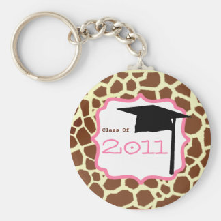 Graduation Class Of 2011 - Giraffe Print & Pink Keychain