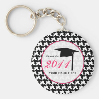 Graduation Class Of 2011 - Houndstooth & Pink Keychain