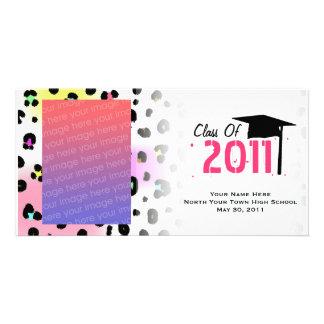 Graduation Class Of 2011 Neon Leopard Print Photo Card Template
