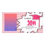 Graduation Class Of 2011 Pink Pop Art Comic Book Photo Greeting Card