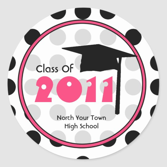 Graduation Class Of 2011 Polka Dot & Pink Classic Round Sticker