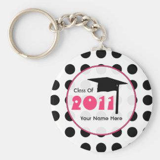 Graduation Class Of 2011 - Polka Dot & Pink Keychain