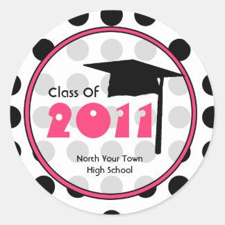 Graduation Class Of 2011 Polka Dot & Pink Round Sticker