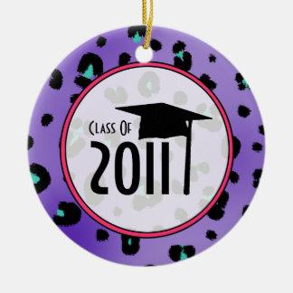 Graduation Class of 2011 Purple Leopard Print Ceramic Ornament