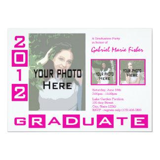 """Graduation Class of 2012/ PInk Tri Photo 5"""" X 7"""" Invitation Card"""