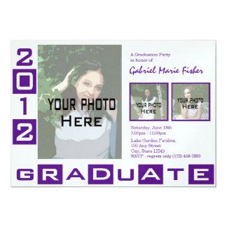 "Graduation Class of 2012 Purple Tri Photo 5"" X 7"" Invitation Card"