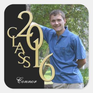 Graduation Class of 2016 Black and Gold Photo Square Sticker