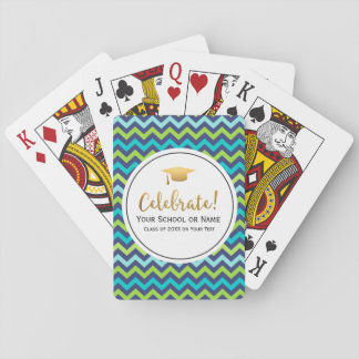 Graduation Class of 2017 Colorful Girly Chevron Playing Cards