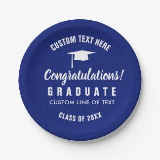 Graduation Class of 2018 Congrats Grad Cap Blue Paper Plate