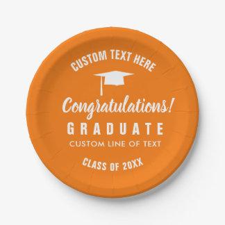 Graduation Class of 2018 Congrats Grad Cap Orange Paper Plate