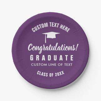 Graduation Class of 2018 Congrats Grad Cap Purple Paper Plate
