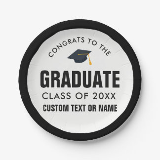 Graduation Class of 2018 Your School Custom Color Paper Plate