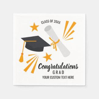 Graduation Congrats Grad Cap Diploma Stars Custom Paper Napkin
