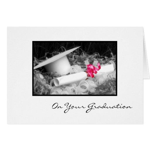 Graduation Congratulations Diploma Pink Ribbon Greeting Cards
