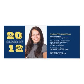 Graduation custom photo invitation blue class of