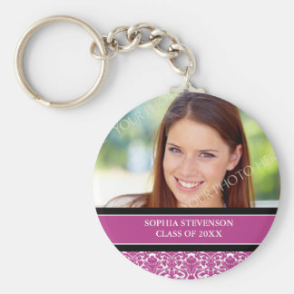 Graduation Custom Year Photo Keychains Pink