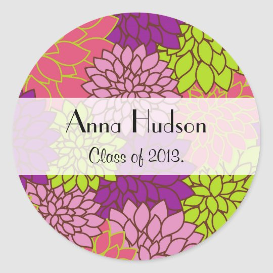 Graduation - Dahlia Flowers - Pink Purple Green Classic Round Sticker