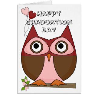 Graduation Day - Folksy Owl & Heart Balloons Card