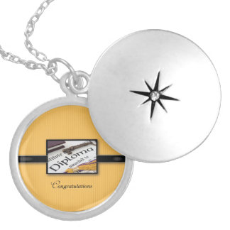Graduation Diploma, Black, Gold, Round Gift Silver Plated Necklace
