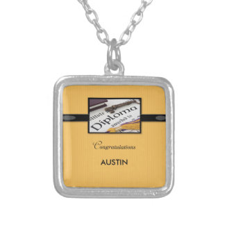 Graduation Diploma, Black, Gold, Square Gift Silver Plated Necklace