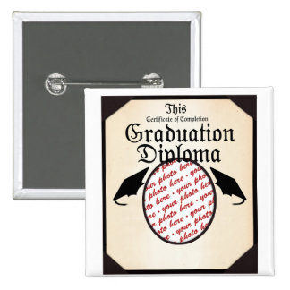 Graduation Diploma Photo Frame 2 Inch Square Button