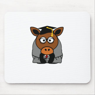 Graduation Donkey Cartoon Illustration Mouse Pad
