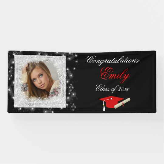 Graduation, Faux Sparkling Glitter, Photo Banner