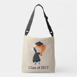 Graduation Female Red Hair Cap Gown Diploma Class Crossbody Bag