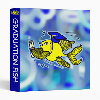 Graduation Fish Graduate funny cute cartoon binder