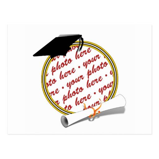 Graduation Frame School Colors  Black & Gold Postcard