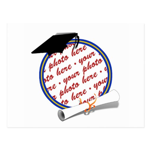 Graduation Frame School Colors  Blue and Gold Postcards