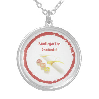 Graduation from Kindergarten, Custom Round Gift Silver Plated Necklace