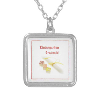 Graduation from Kindergarten, Custom Square Gift Silver Plated Necklace