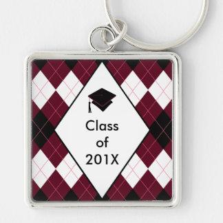 Graduation Gift Key Ring Preppy Black Red Argyle
