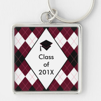 Graduation Gift Key Ring Preppy Black Red Argyle Silver-Colored Square Keychain