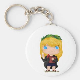 Graduation Girl Blonde (A) Basic Round Button Keychain