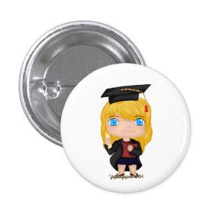 Graduation Girl Blonde (B) 1 Inch Round Button