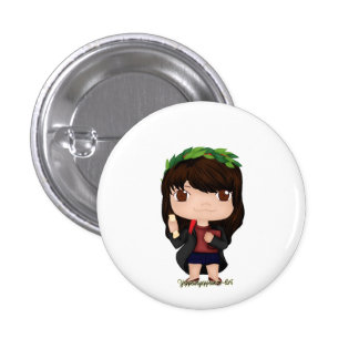 Graduation Girl Brown (A) 1 Inch Round Button