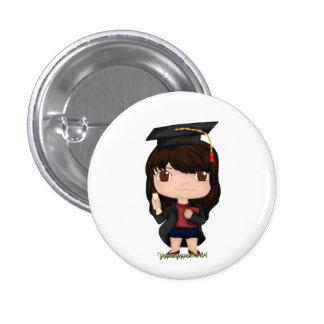 Graduation Girl Brown (B) 1 Inch Round Button