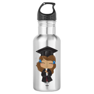 Graduation girl in black 532 ml water bottle