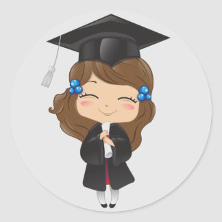 Graduation girl in black classic round sticker