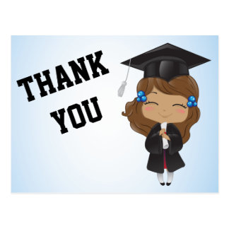 Graduation Girl in BLACK Postcard