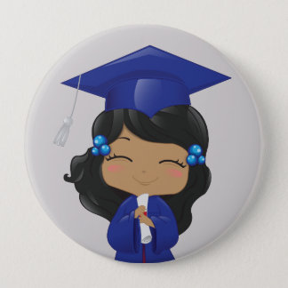 Graduation Girl in Blue 4 Inch Round Button