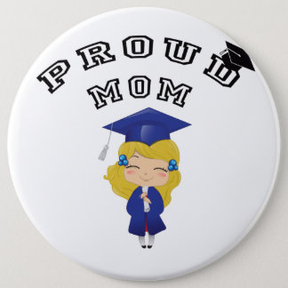 Graduation girl in blue 6 inch round button
