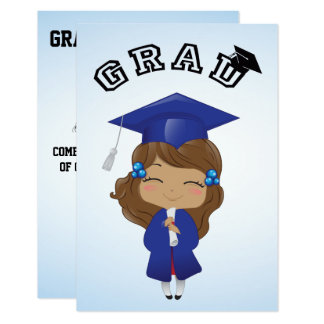 Graduation Girl in Blue Card